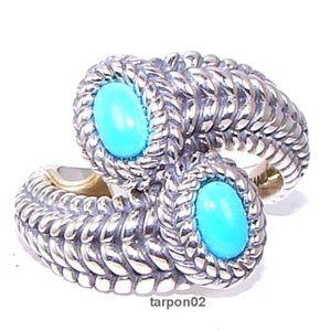 John Hardy JAI Turquoise Bypass Silver Ring Sz 6